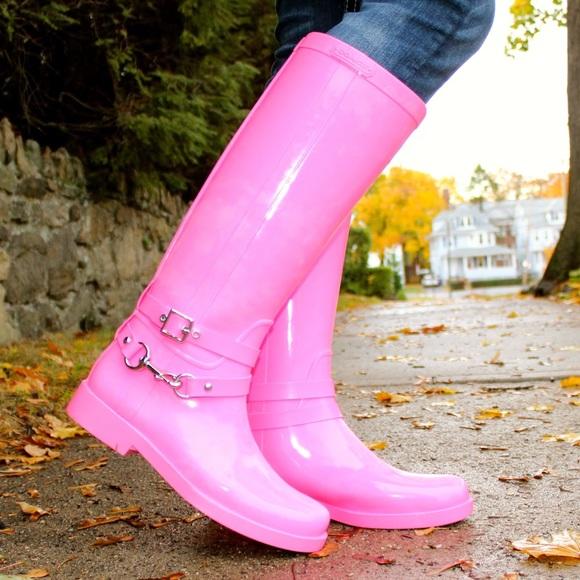 Coach Shoes - Coach Lori Fluorescent Pink Rain Boots